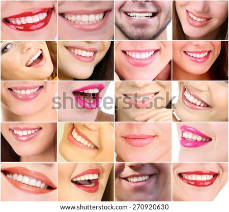 People smiles collage - stock photo