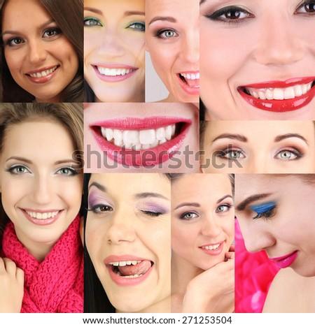 People smiles collage - stock photo