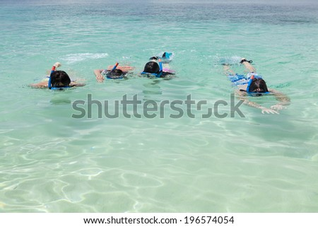 people snorkeling at the beautiful beach,Boracay in Philippine