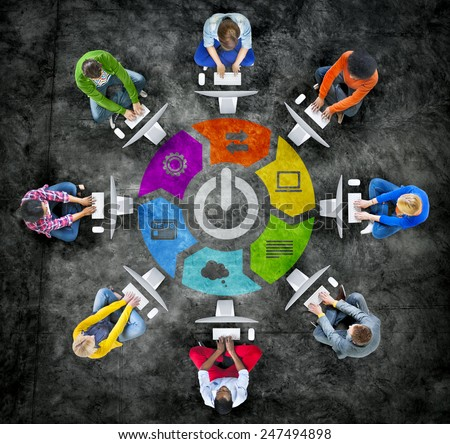 People Social Networking and Power Switch Concept - stock photo