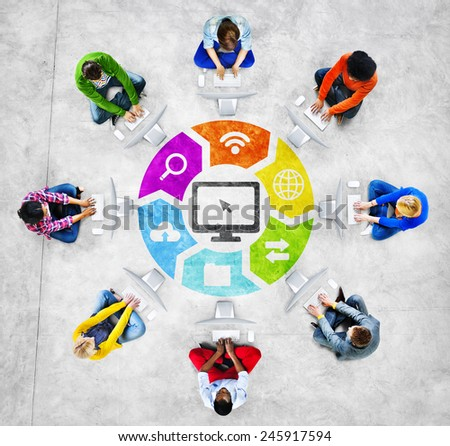People Social Networking and Related Symbols - stock photo