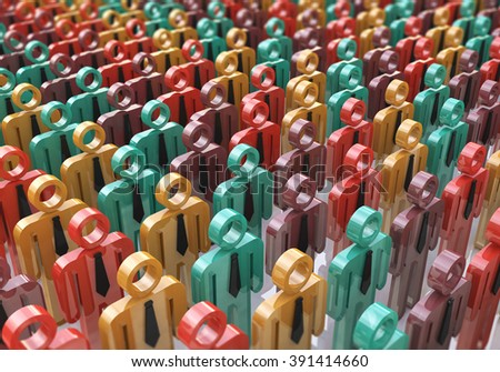 People, society and social media network internet web www communication concept: crowd or group of color human figures with selective focus effect - stock photo