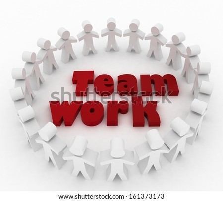 People stand around the word teamwork. Conception of cooperation. 3d illustration on a white background.