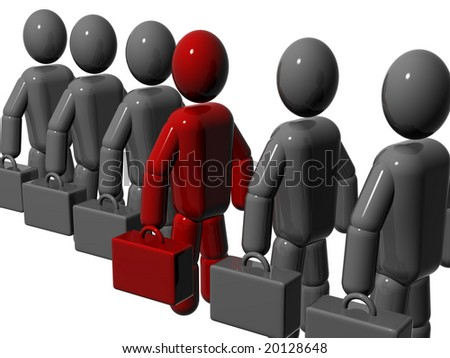 People, standing in a queue, with a suitcase. 3d render. - stock photo
