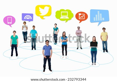 People standing on circles connected by lines - stock photo
