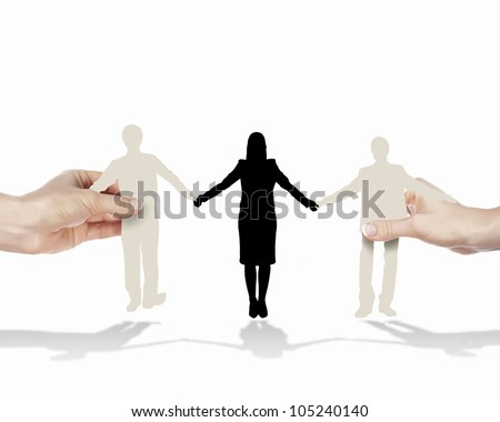 People standing together as symbol of successful partnership - stock photo