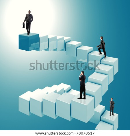 people step on business success stair