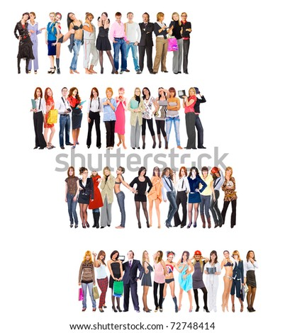 People Steps Ladder of SuccessGroup - stock photo
