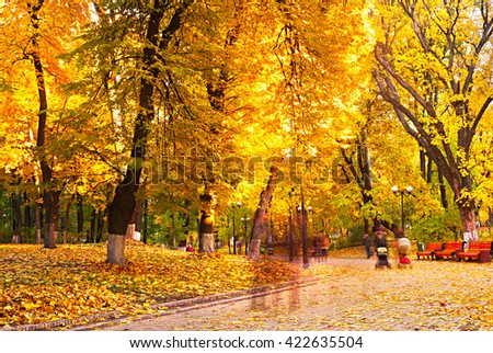 People strolling in a beautiful autumnal park. Long Exposure - stock photo