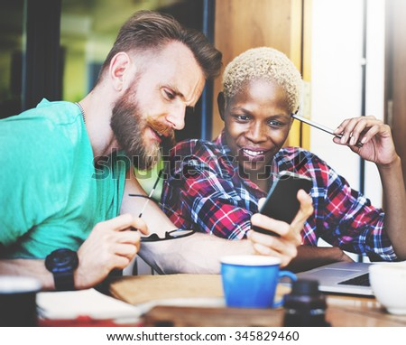 People Study Friends Hipster Project Teamwork Designers Creative Technology Concept - stock photo