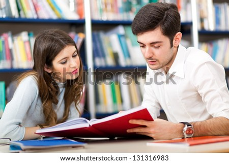People studying together in a library