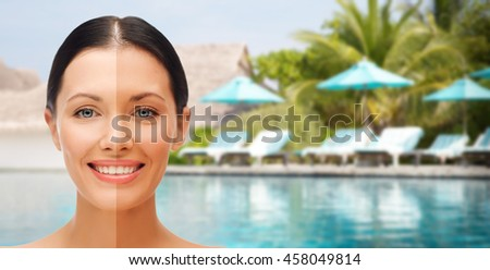 people, suntan, travel and summer holidays concept - close up of beautiful smiling woman with half face tanned - stock photo