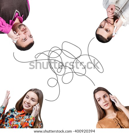 People talking on a conference call  - stock photo