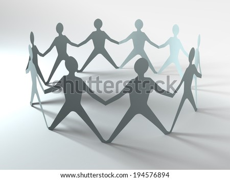 people team in a circle holding hands, conceptual image - stock photo