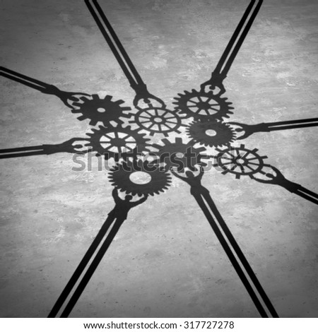 People teamwork holding gears connected together as a social community group symbol or business concept working for a common cause with cast shadows holding a cogwheel network in a team partnership. - stock photo