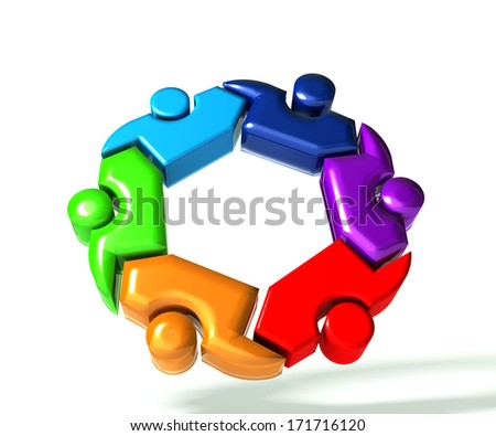 People teamwork in a hug symbol 3D design  - stock photo