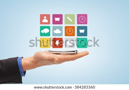 people, technology and business concept - close up of male hand with smartphone and menu icons projection