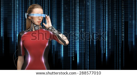 people, technology, future and progress - young woman with futuristic glasses and microchip implant or sensors over black background with blue binary system code - stock photo