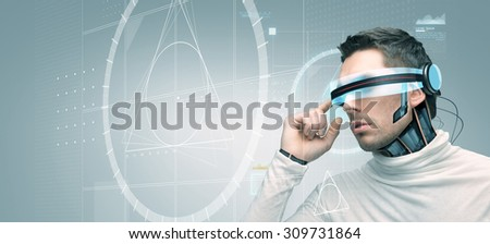 people, technology, future, engineering and progress - man with futuristic 3d glasses and microchip implant or sensors over gray background with golden section on virtual screen - stock photo