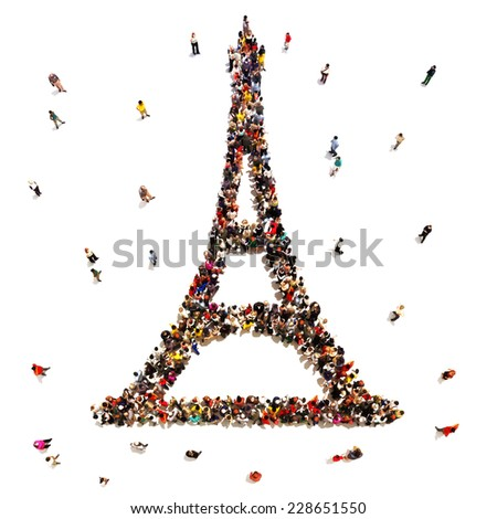 People that travel the world. Large crowd of people in the shape of the Eiffel Tower on a white background. - stock photo
