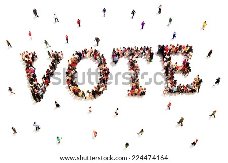 People that vote. Large group of people walking to and forming the shape of the word text vote on a white background. - stock photo