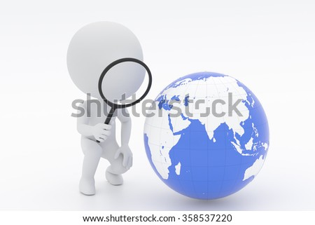 People to observe the globe with a magnifying glass