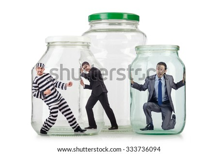 People trapped in the glass jar - stock photo