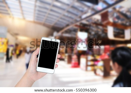 People use smart phone for online shopping, Marketing Human behavior concept.