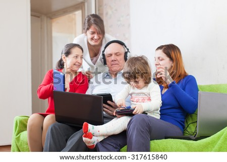 people  uses few various computers at home interior