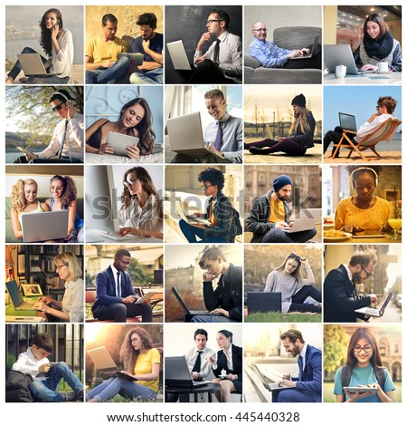 People using a pc - stock photo