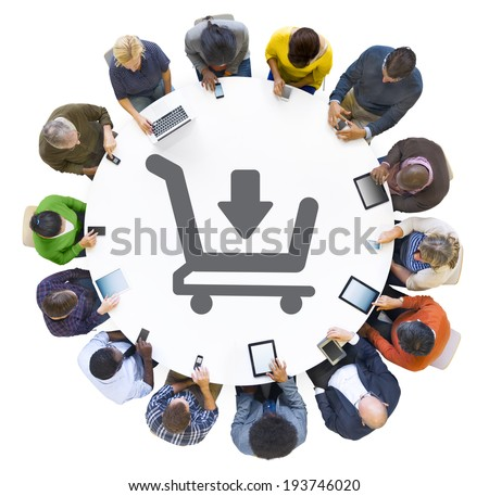 People Using Digital Devices with Shopping Cart Symbol - stock photo