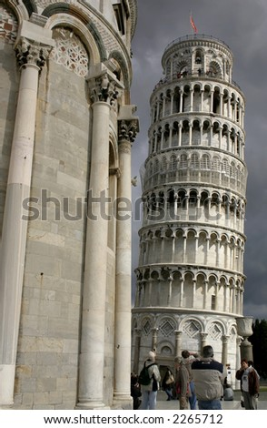 People visiting the Tower of Pisa