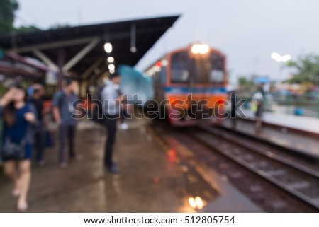 People Waiting at Train Station or Railway Station for coming Train, Abstract Blur or Defocus Background