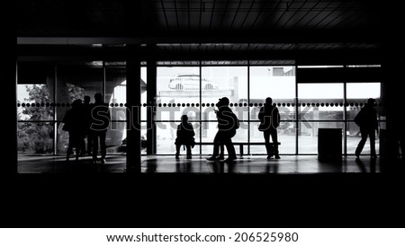 People waiting for a train - stock photo