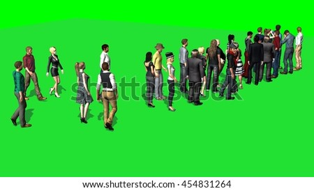 People waiting in line -  green screen. 3D illustration