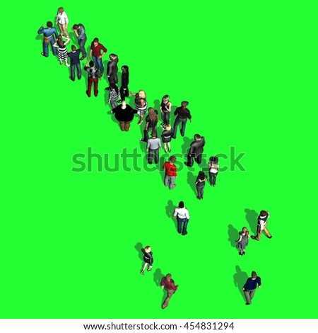 People waiting in line - top view on green screen. 3D illustration