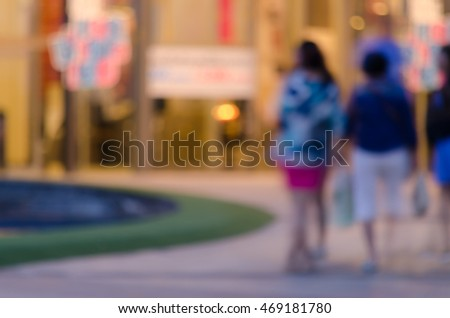 People walk select and travel in Chiang Mai Thai festival Market Blurred Abstract Background