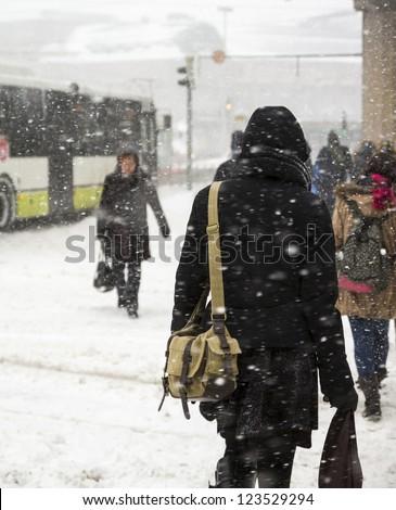 People walking at street - stock photo
