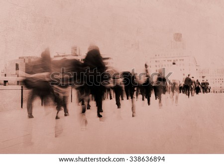 People Walking Commuter Busy Concept - stock photo