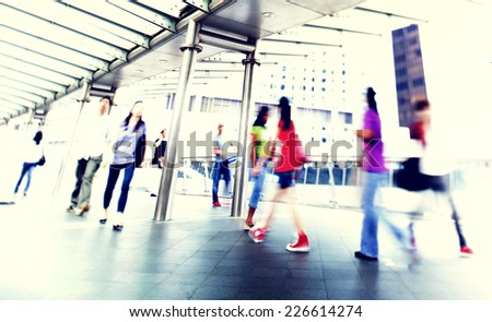 People Walking Commuter City Concept - stock photo