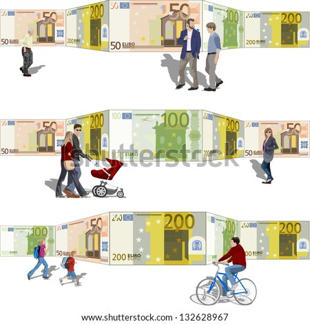 People walking front of a background bills. Also available in vector.