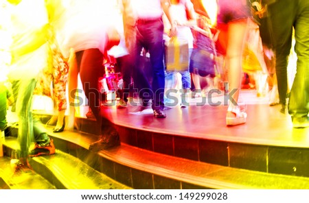 people walking in business city in metro station for transfer - stock photo