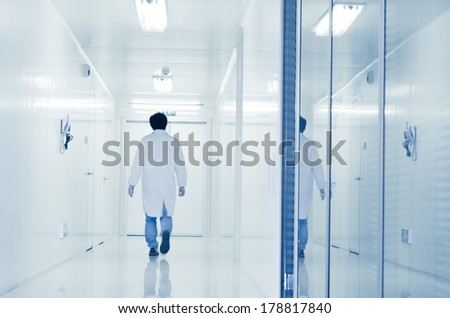 people walking in modern laboratory,abstract blur