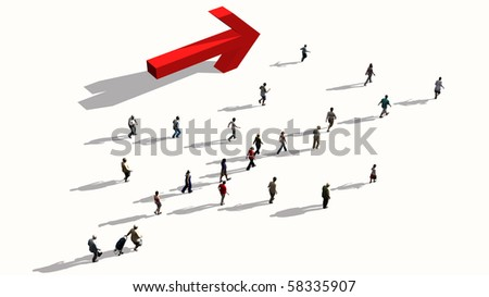 people walking in one direction - stock photo