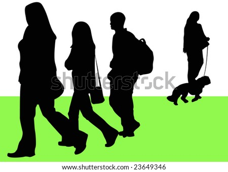 people walking in park - stock photo