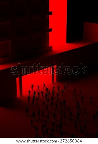 people walking into building entrance  - stock photo