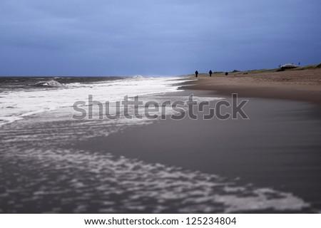 People walking on beach - stock photo