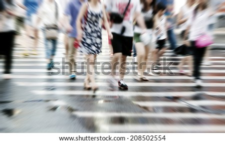 People walking on big city street
