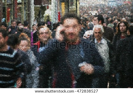 people walking on busy city street.(reference image uploaded as property release)