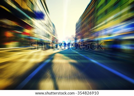 people walking on busy street  in big city,centrum in the city with people rush  - stock photo